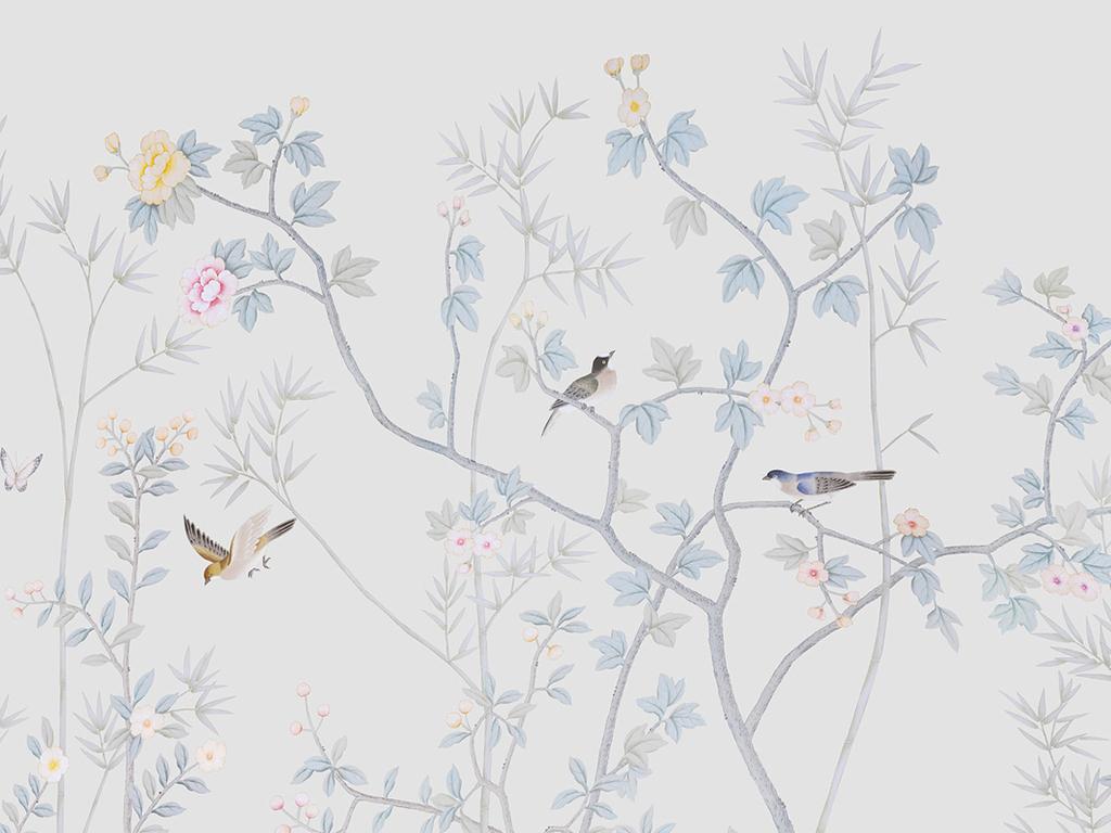 新中式手绘花鸟工笔复古装饰画背景墙图片