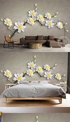 3D白色立体花朵珠宝背景墙