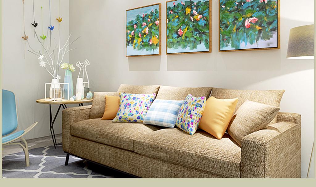 新中式纯手绘荷塘荷花艺术组合装饰油画
