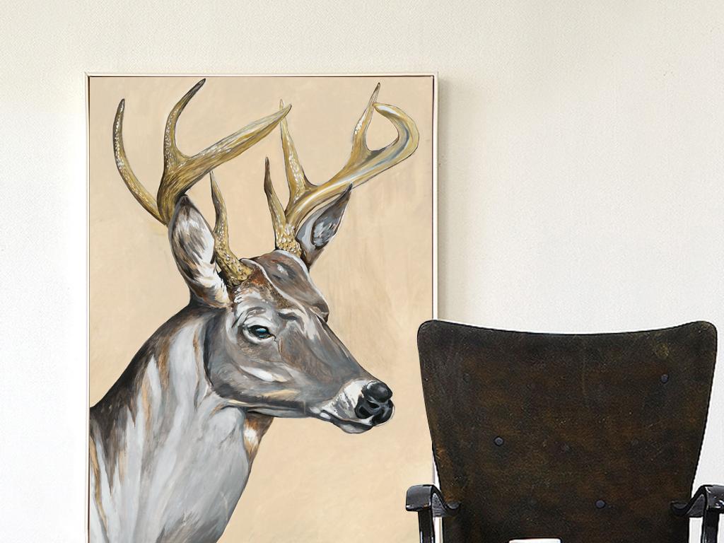 中式手绘插画水彩画无框画装饰画酒店家居客厅欧式羽毛中式麋鹿梅花鹿