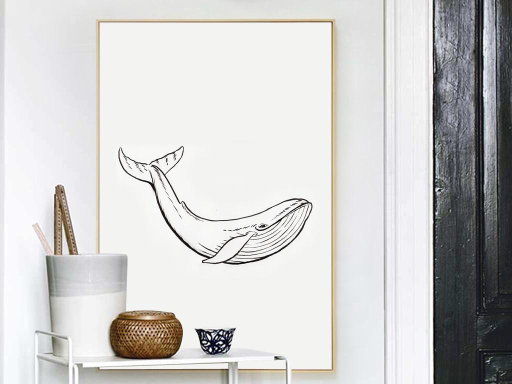 新中式手绘插画水彩画无框画装饰画酒店家居客厅欧式羽毛中式鲨鱼鲸鱼