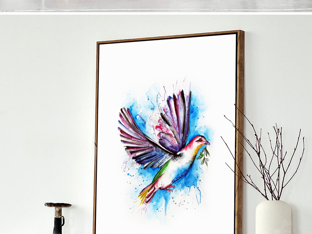 水彩手绘飞鸟无框画