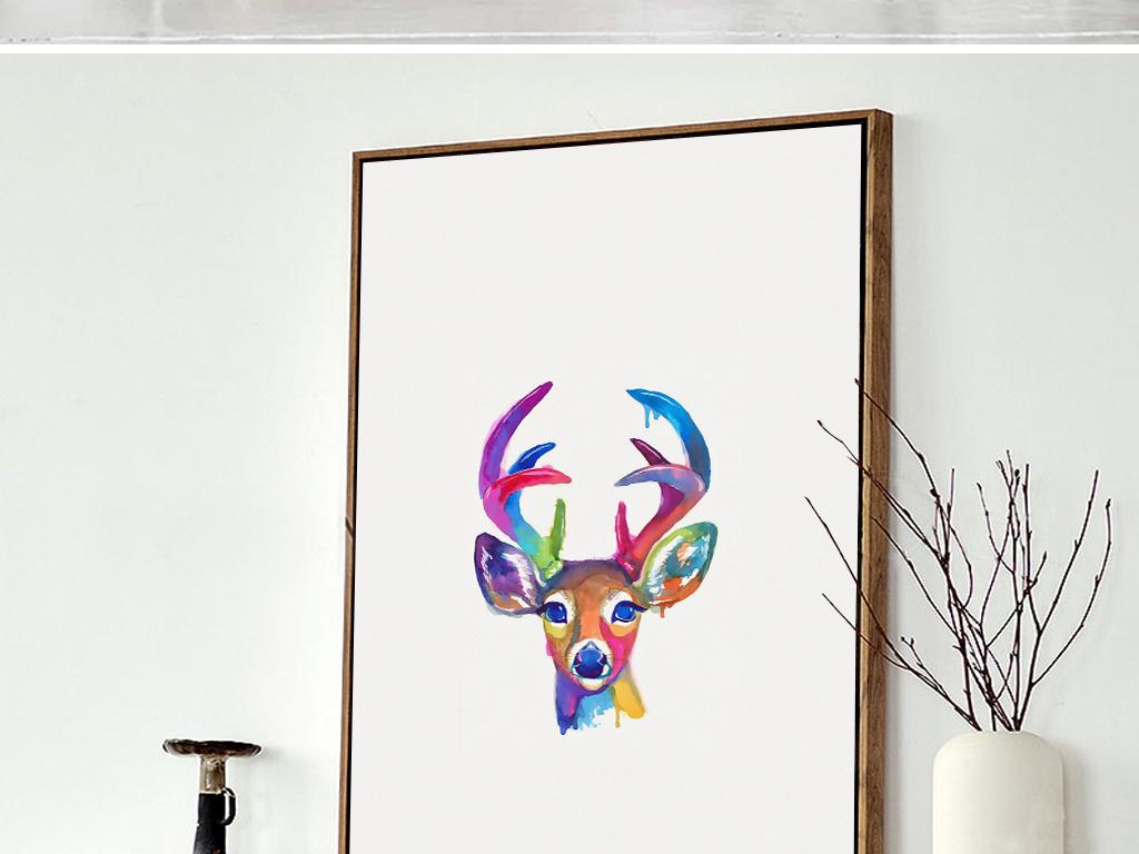 北欧装饰画 动物装饰画 > 手绘彩色麋鹿梅花鹿无框画简约  素材图片参