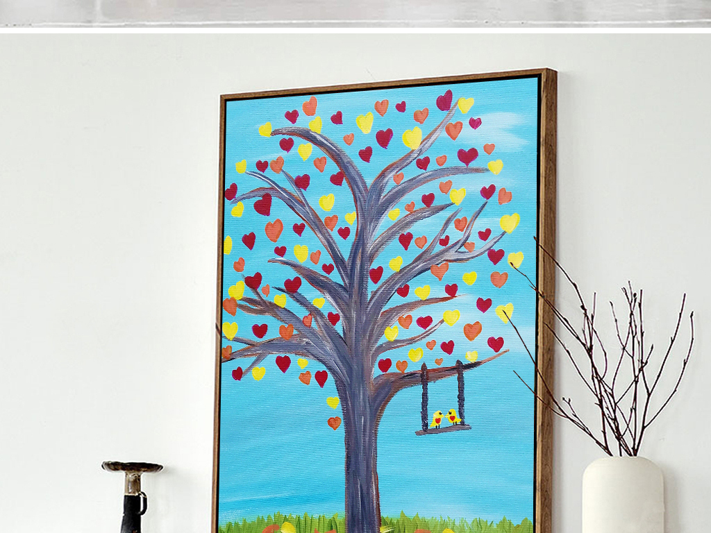 新中式羽毛手绘插画水彩画无框画装饰画酒店家居客厅欧式中式爱情财树