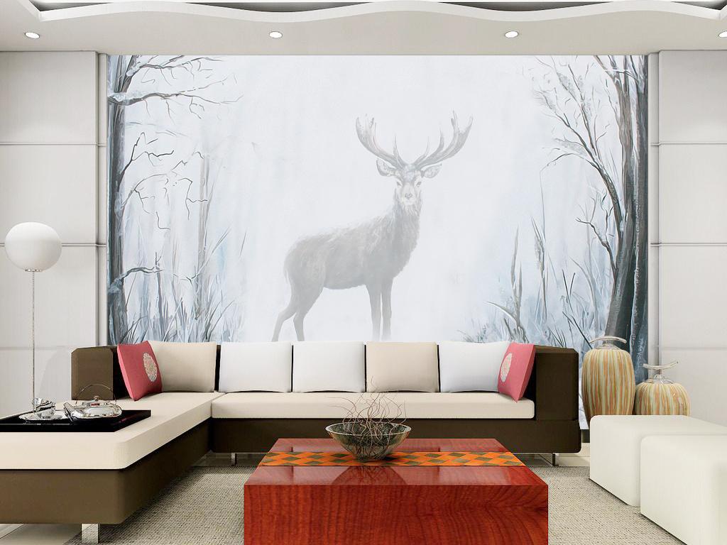 儿童房树林手绘背景麋鹿梦幻梦幻背景北欧背景背景梦幻手绘墙手绘花鸟