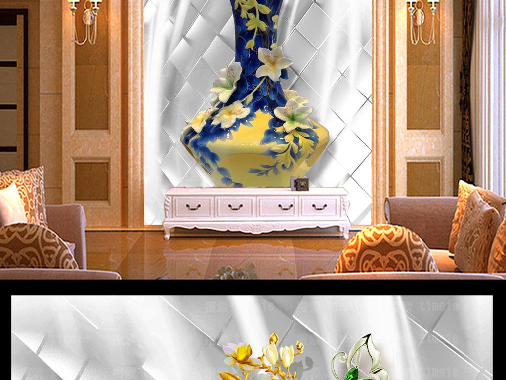 浮雕立体雕刻壁画墙纸壁纸玄关门厅背景墙装饰画玉兰