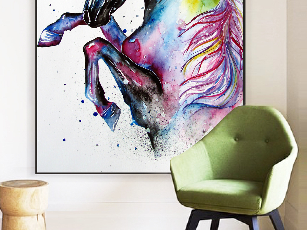 水彩手绘彩色骏马无框画北欧