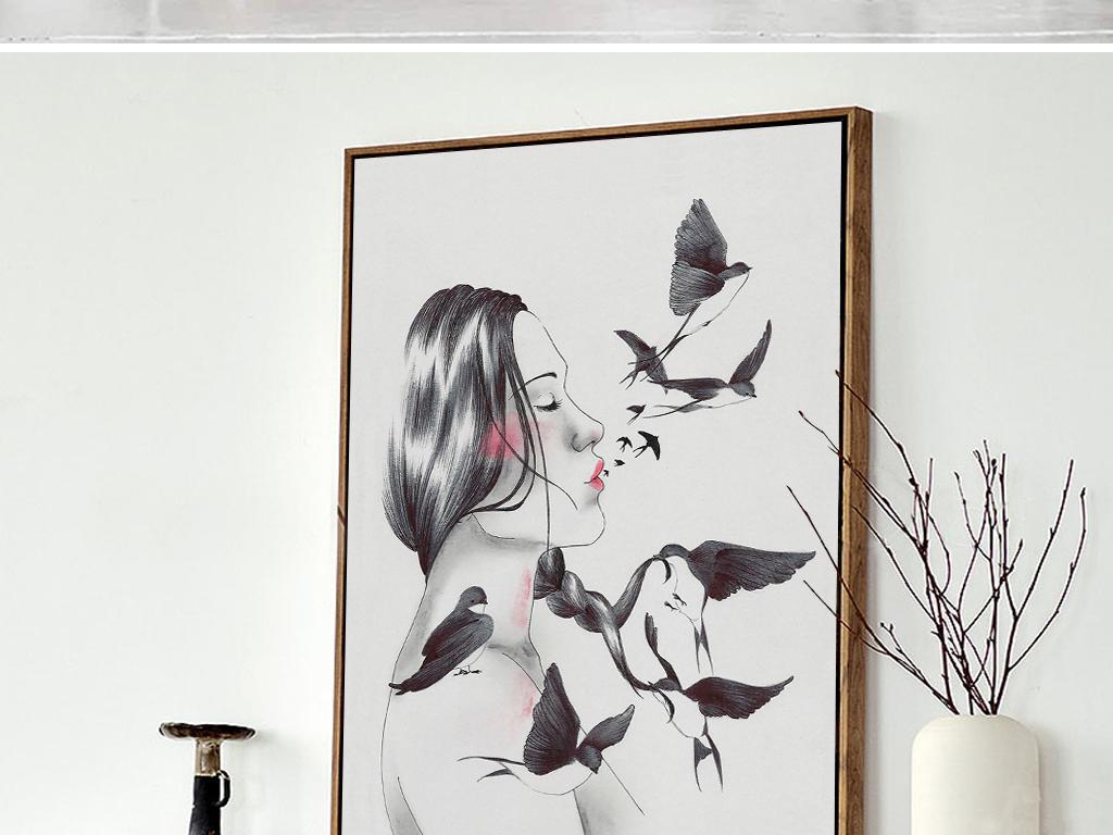 抽象人物黑白装饰画