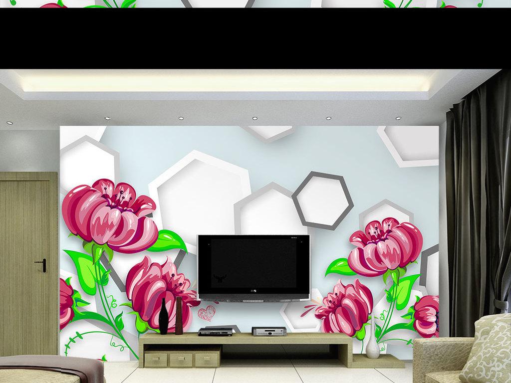 手绘花彩绘花朵立体六边形时尚3d背景墙