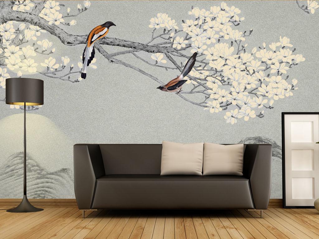 新中式玉兰工笔花鸟背景装饰壁画图片