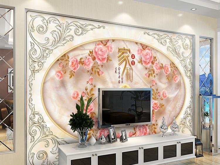 大理石浮雕家和富贵欧式花纹电视背景墙