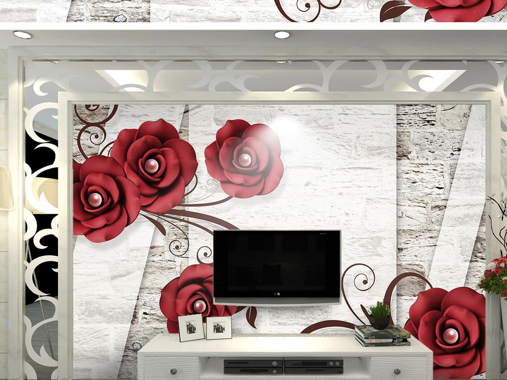 浮雕欧式牡丹花纹花镶钻红花木纹砂岩珠宝玫瑰复古