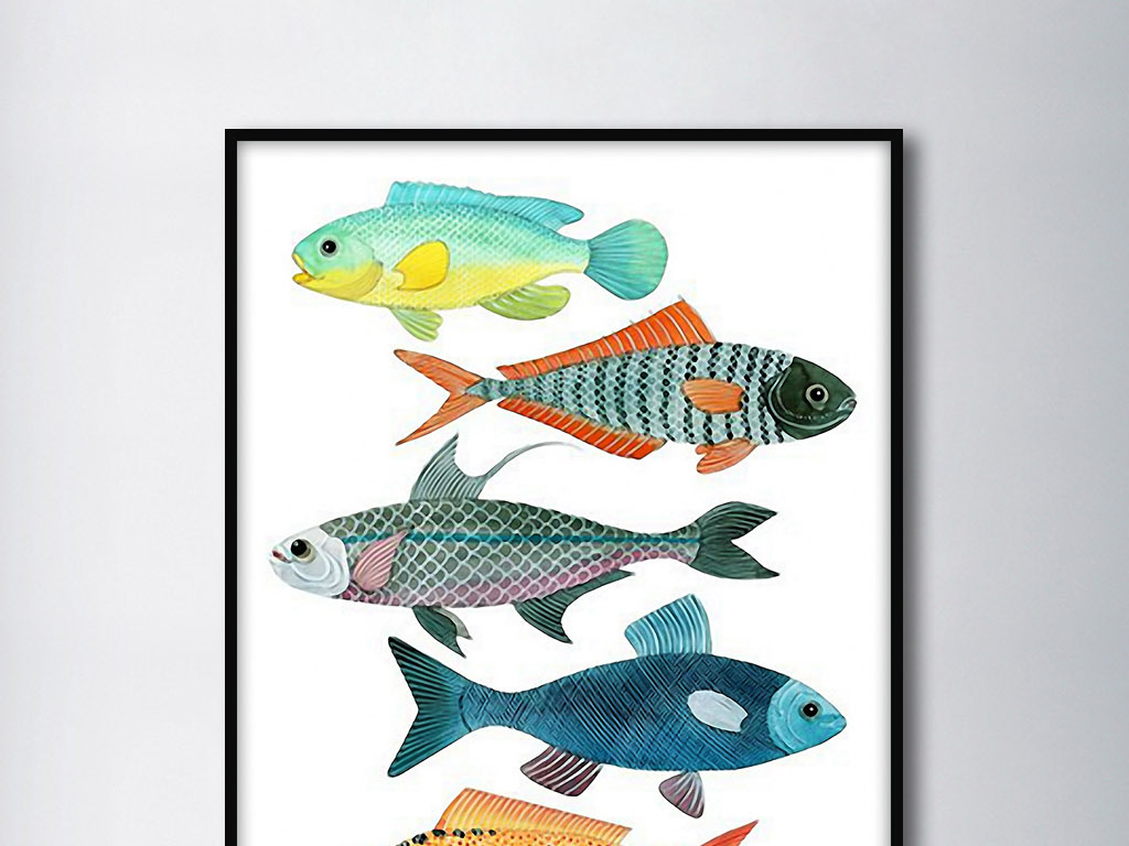 彩色鱼类欧式手绘北欧小清新现代家居装饰画