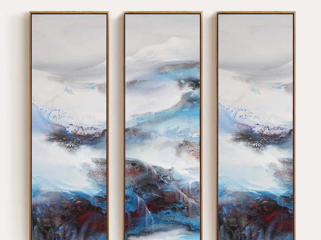 新中式古典手绘蓝色抽象雪山风景装饰画