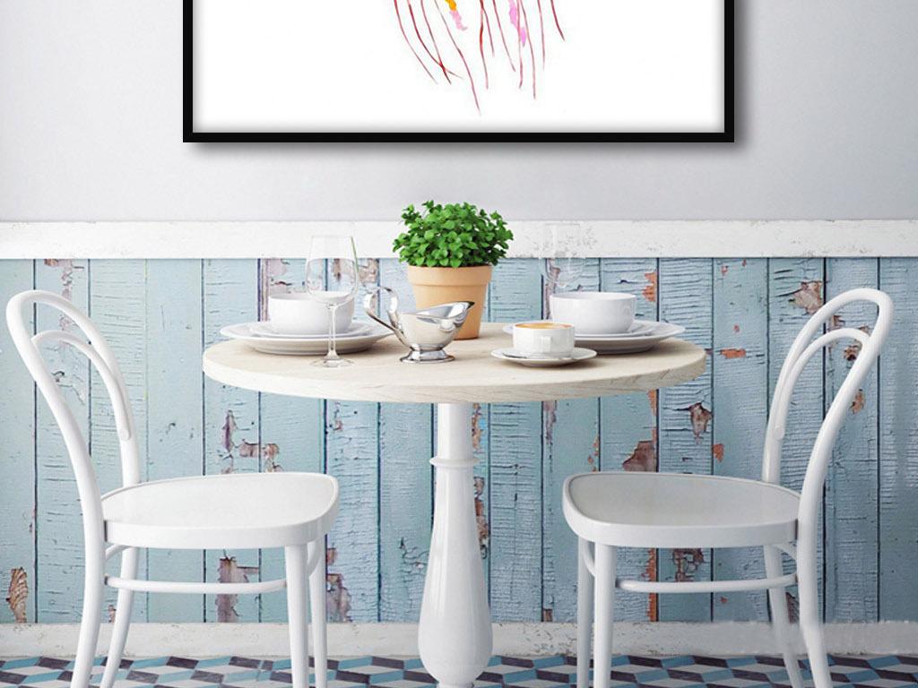 水母和泡泡北欧简约手绘现代欧式室内装饰画