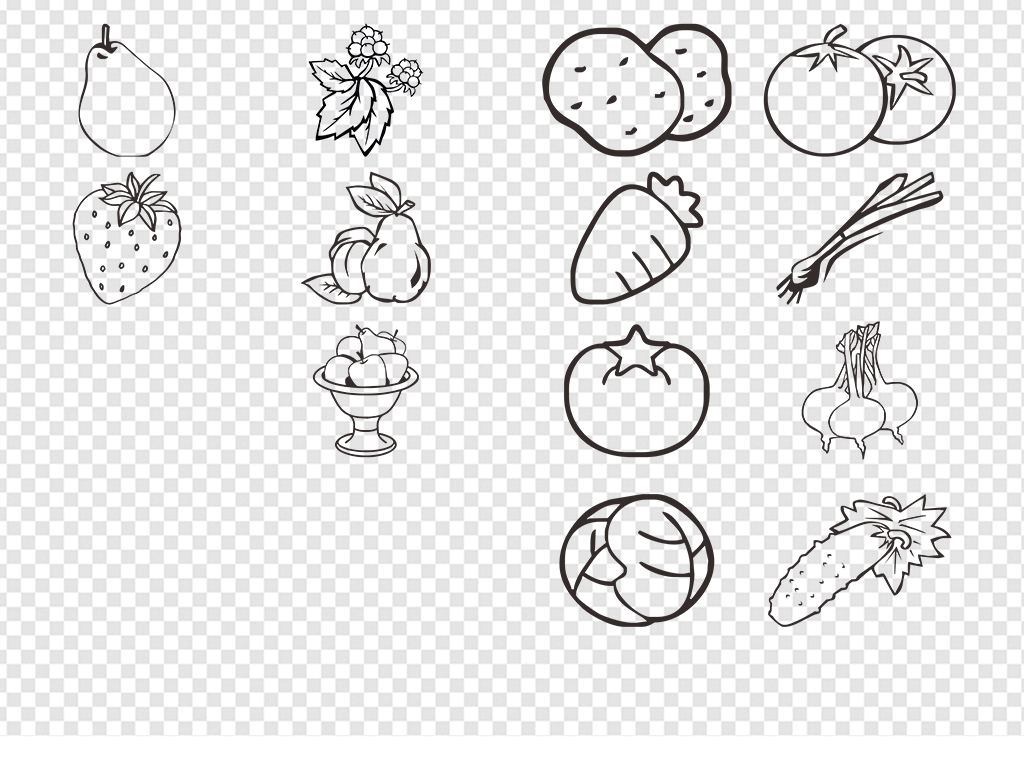 高清多种水果蔬菜简笔画png素材