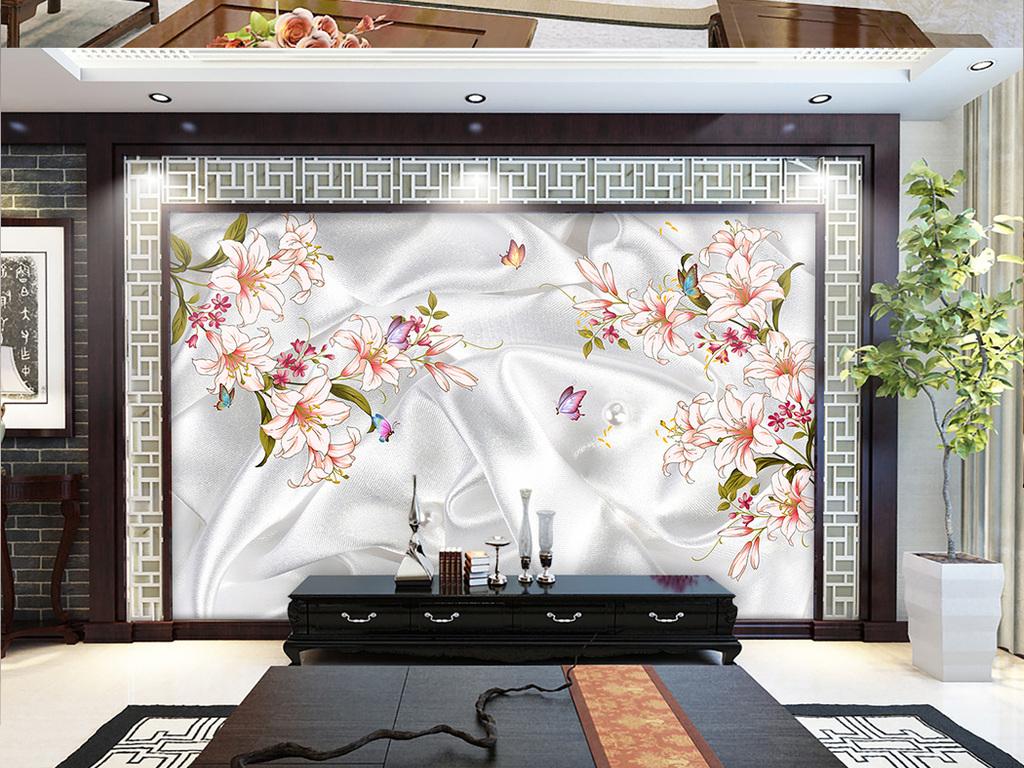 简洁简约手绘百合花朵电视客厅背景墙