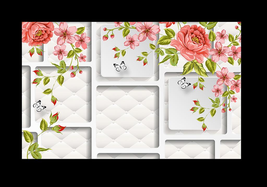 手绘牡丹花大红花简约电视客厅背景墙壁画