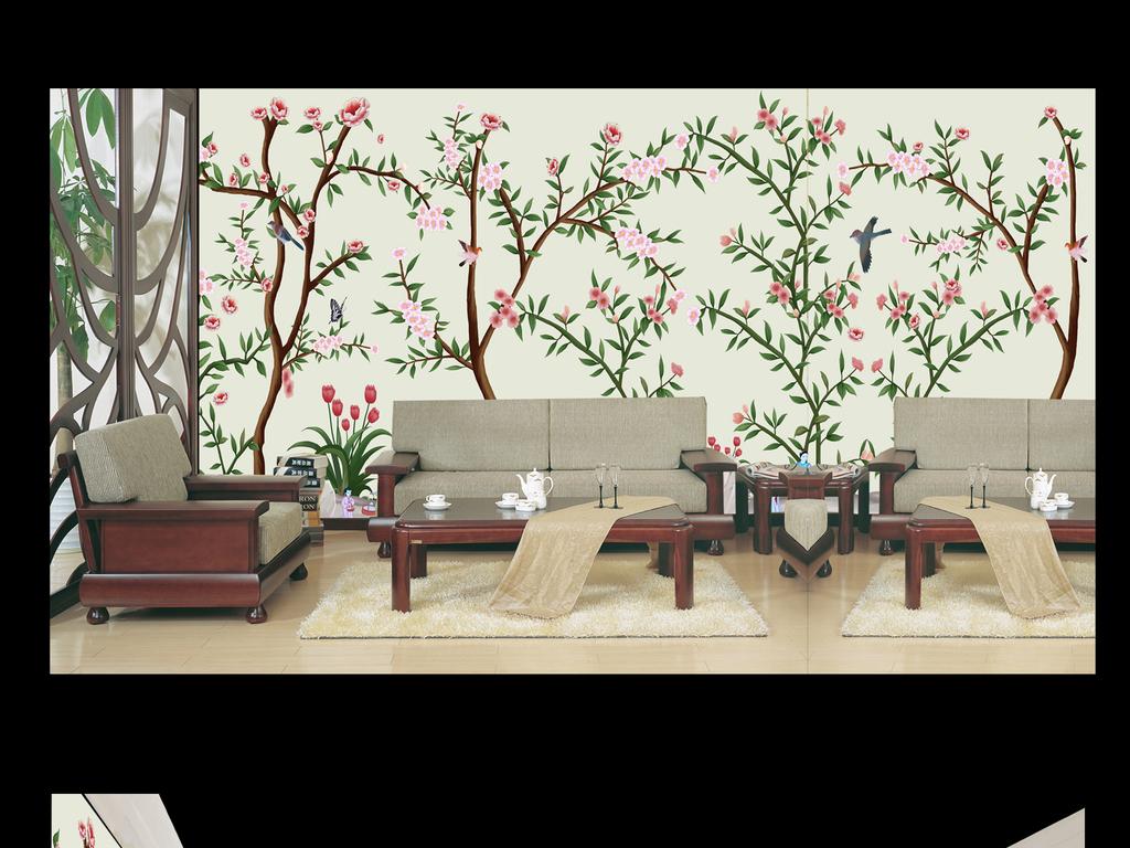 欧式美式古典中国风古韵复古儒雅喜鹊鸟花鸟梅花杏花