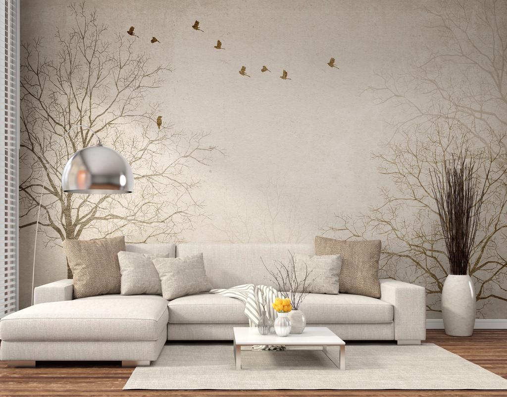 室内装饰电视背景墙沙发背景墙树枝小鹿美式风格怀旧背景飞鸟小鹿背景