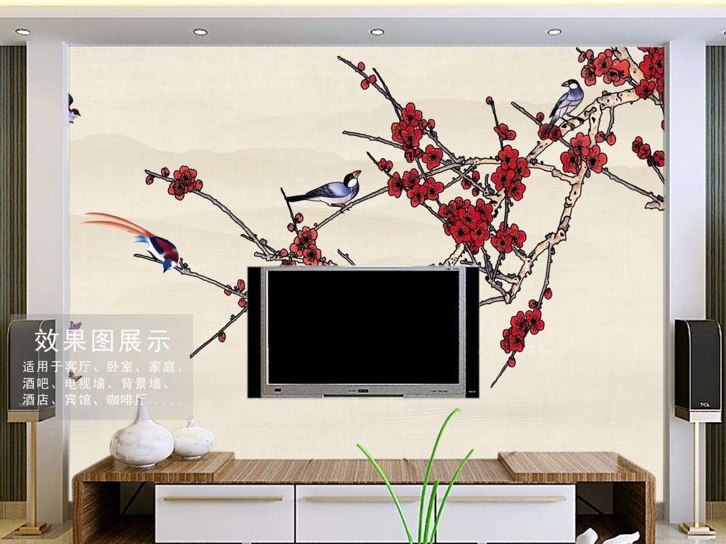 现代简约手绘工笔花鸟中式电视背景墙壁画
