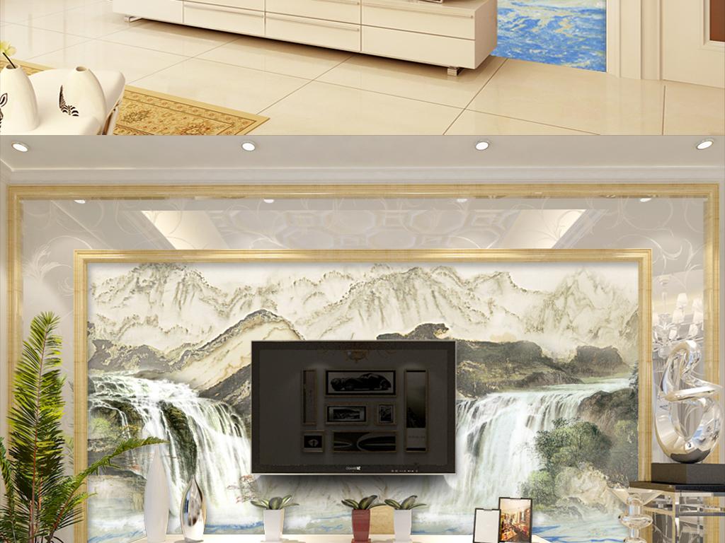 欧式现代山水大理石山水高清背景墙石材流水石纹