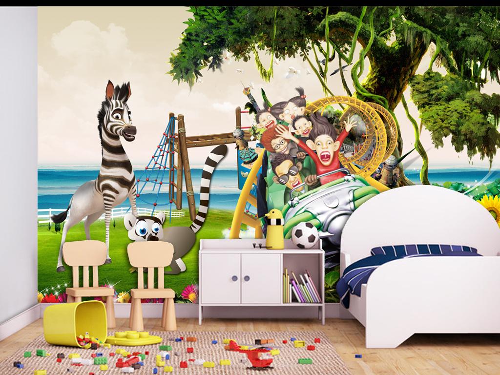 动物乐园简约儿童房3d风景沙发背景森林风景风景背景