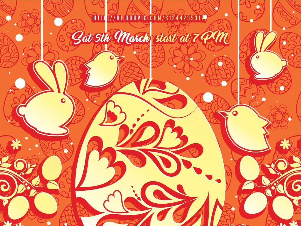 psd)复活节创意海报手绘花朵婚庆婚礼幼儿园春天促销