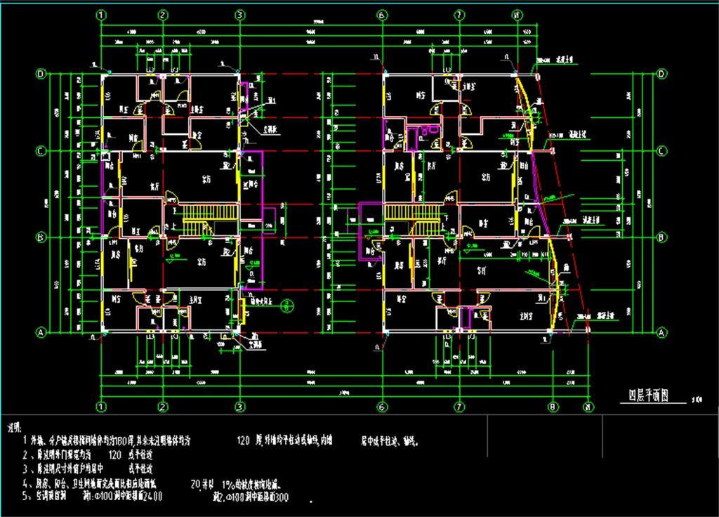 住宅建筑cad施工平面图