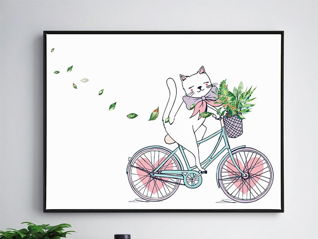北欧单车动物卧室装饰画