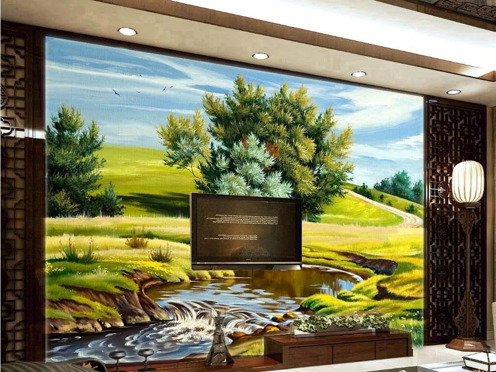 背景墙|装饰画 电视背景墙 电视背景墙 > 外国绿树成荫河流小溪油画