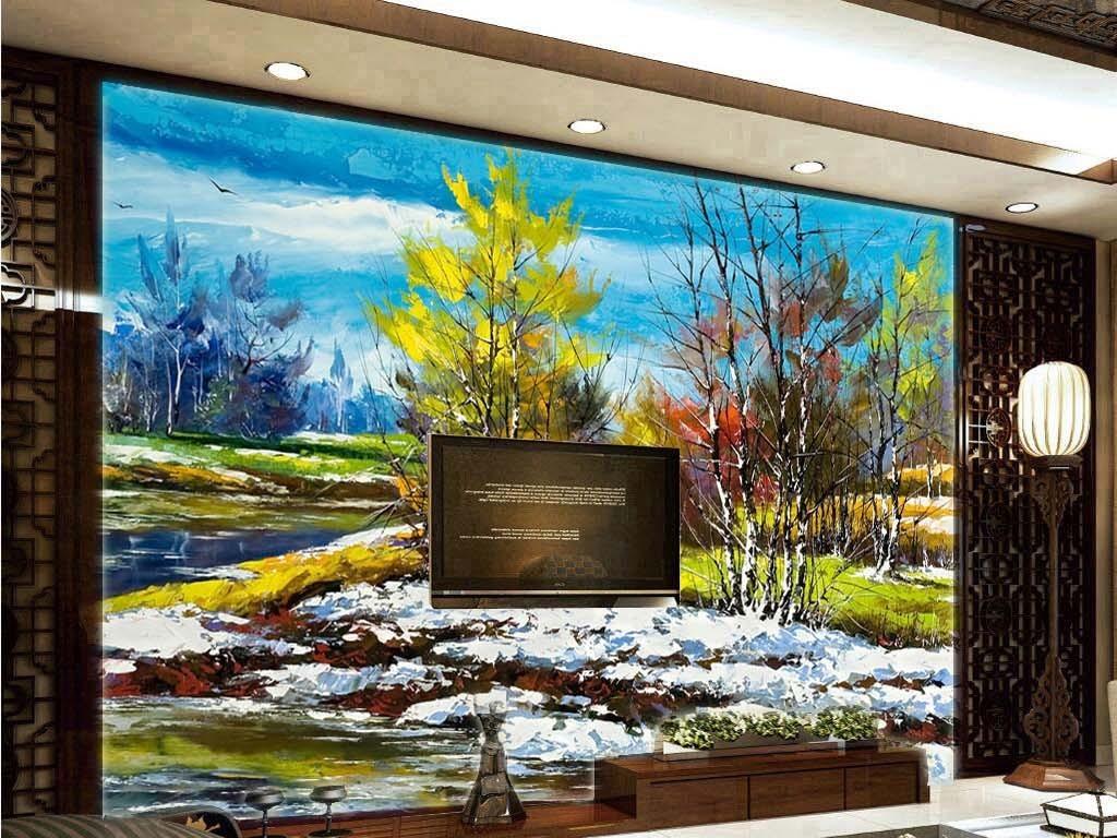 初春大雪融化绿树欧式电视客厅背景墙油画