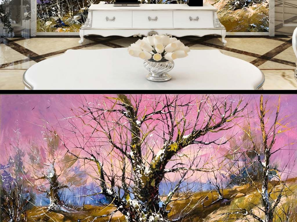 冬天紫红色天空树林欧式油画电视客厅背景墙