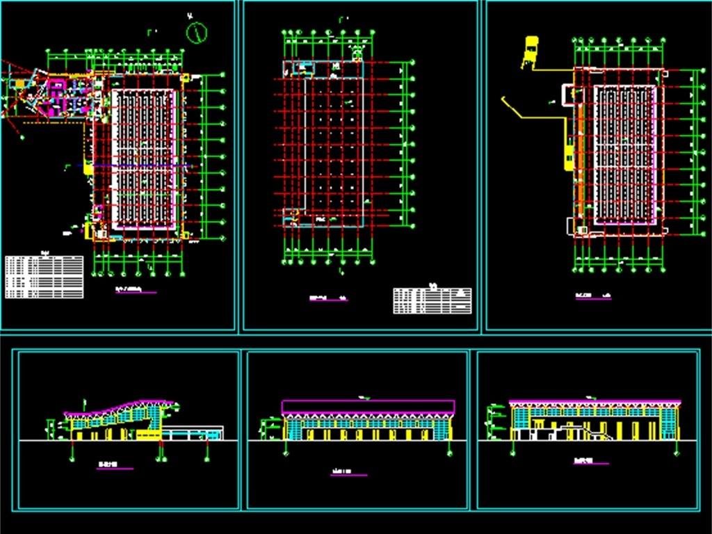 游泳馆cad建筑施工平面图