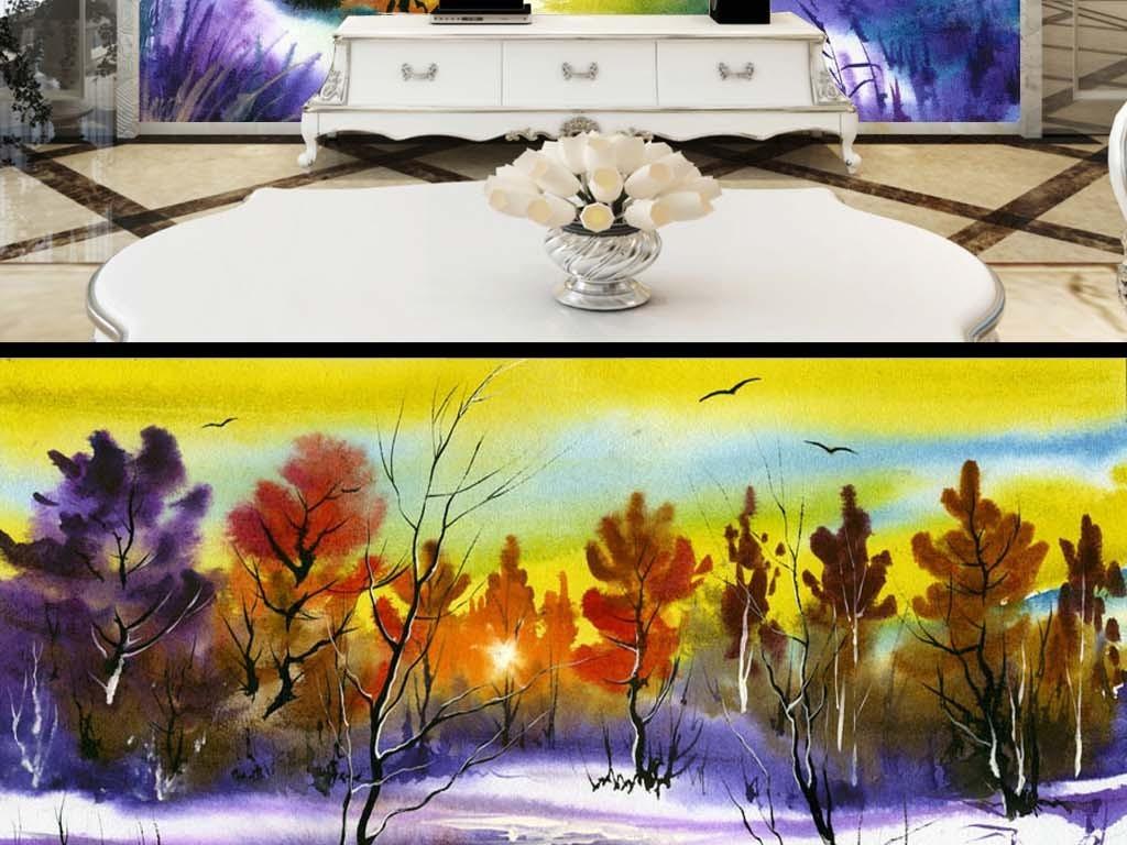 乐队动物山水巨幅装饰画水彩水墨背景森林背景清新