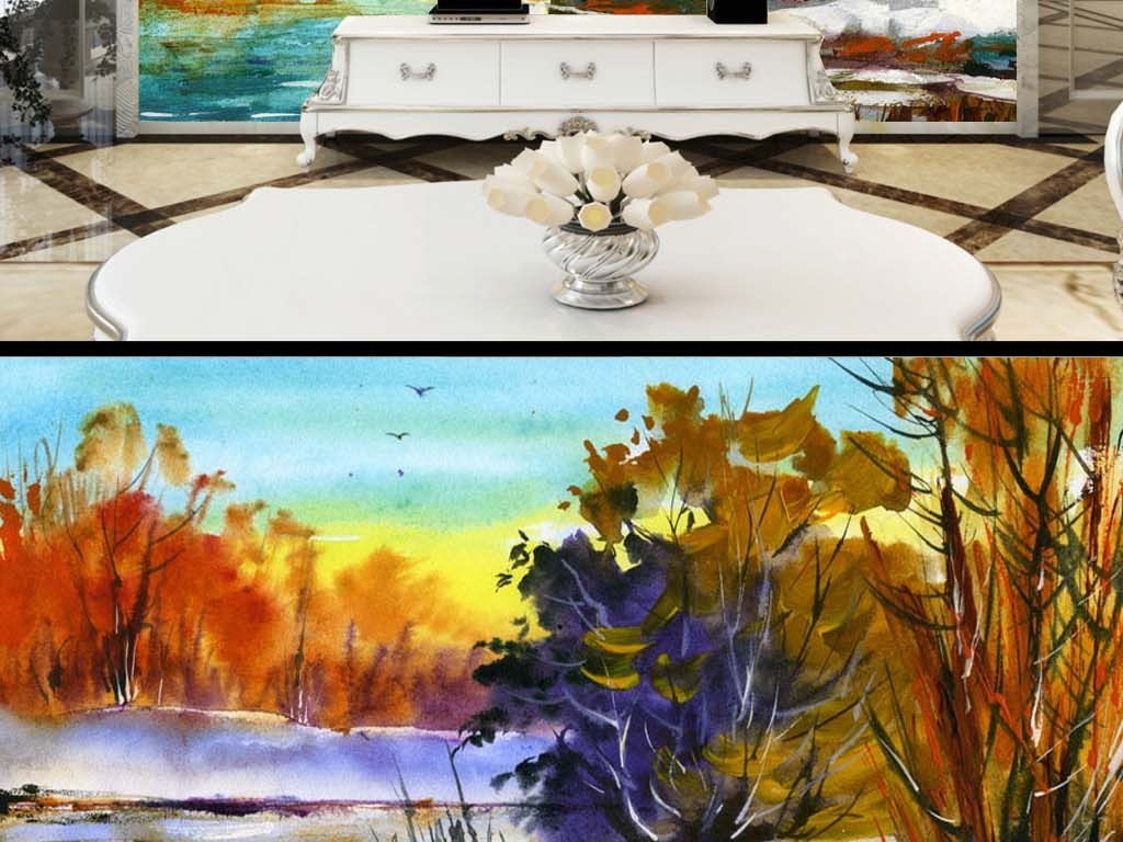北欧小清新河流湖泊枫树抽象森林油画背景墙