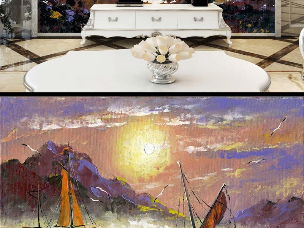乐队动物山水巨幅装饰画抽象抽象背景复古背景帆船