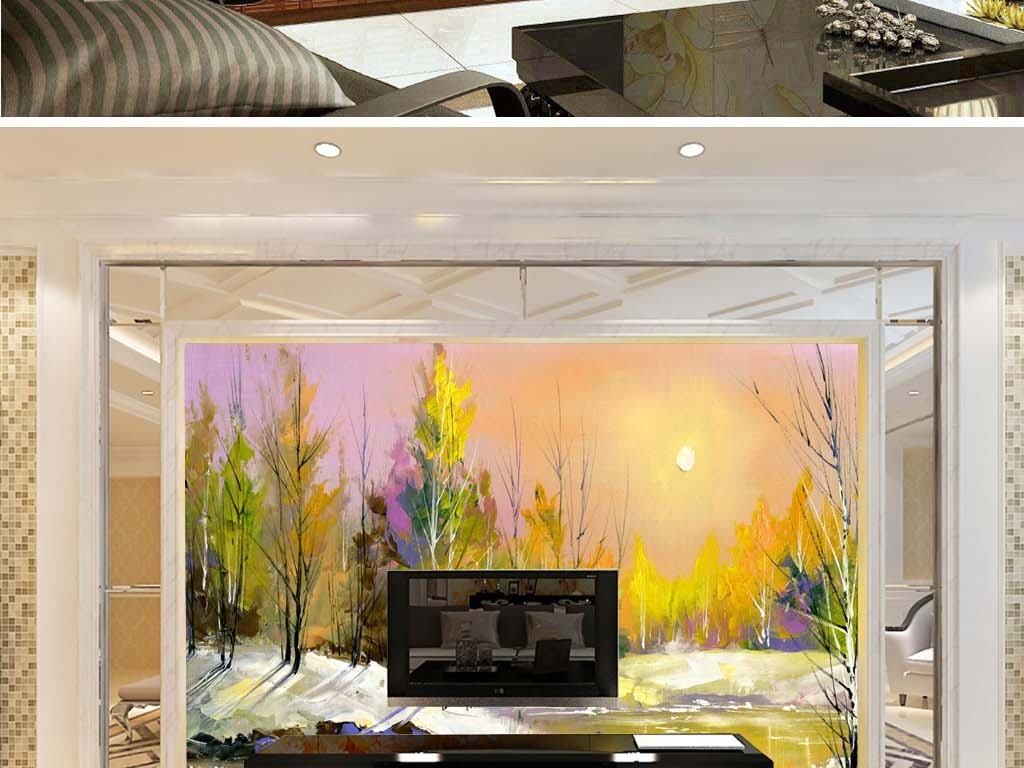 落日夕阳余晖欧式风景抽象油画电视背景墙
