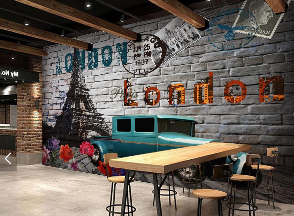 3d砖墙巴黎铁塔汽车欧式油画工装背景墙
