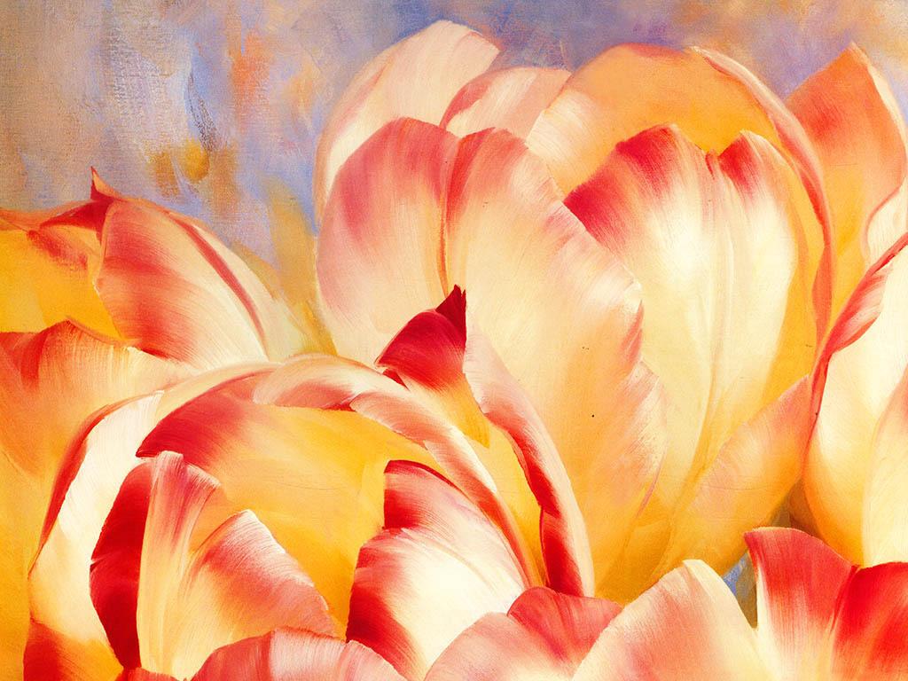 手绘花朵背景墙(图片编号:16152527)_油画|立体油画墙