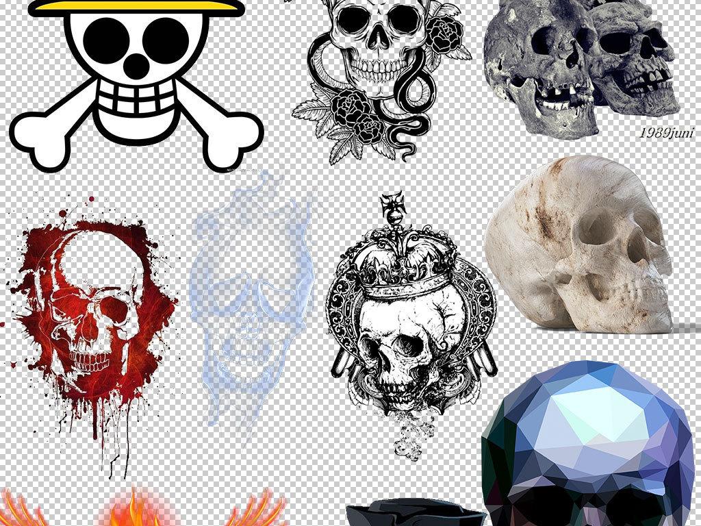 实物手绘骷髅骨头设计海报素材