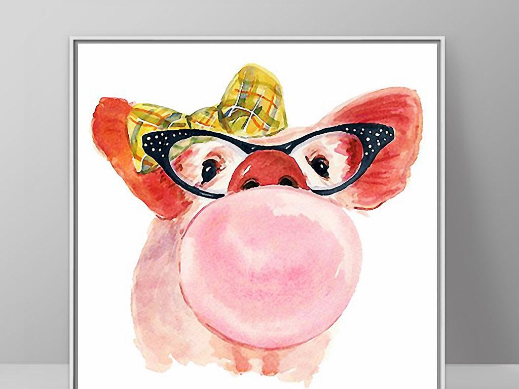 绘现代可爱卡通猪可爱的小