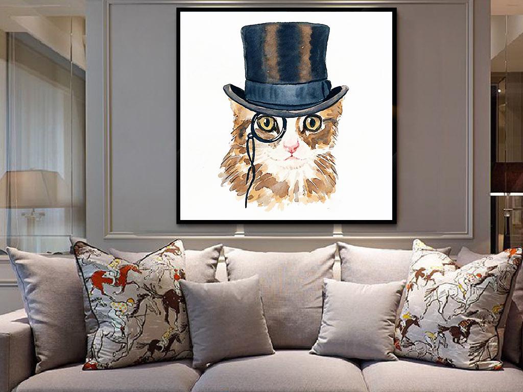 猫绅士戴帽子欧式简约手绘现代北欧装饰画
