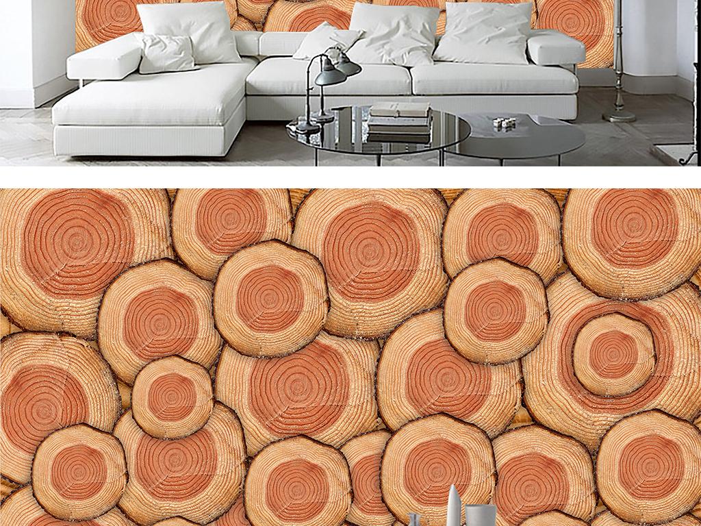 复古怀旧欧式风格原木木材年轮壁画背景墙