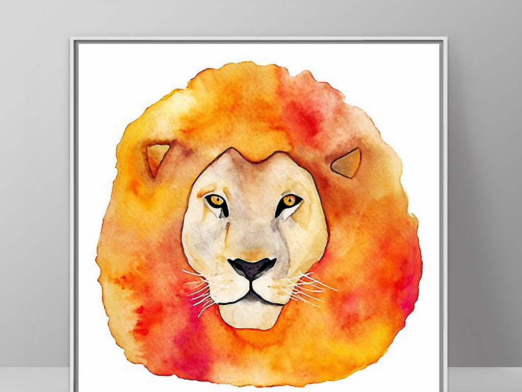 无框画 动物图案无框画 > 雄狮子头像北欧现代手绘简约欧式时尚装饰画