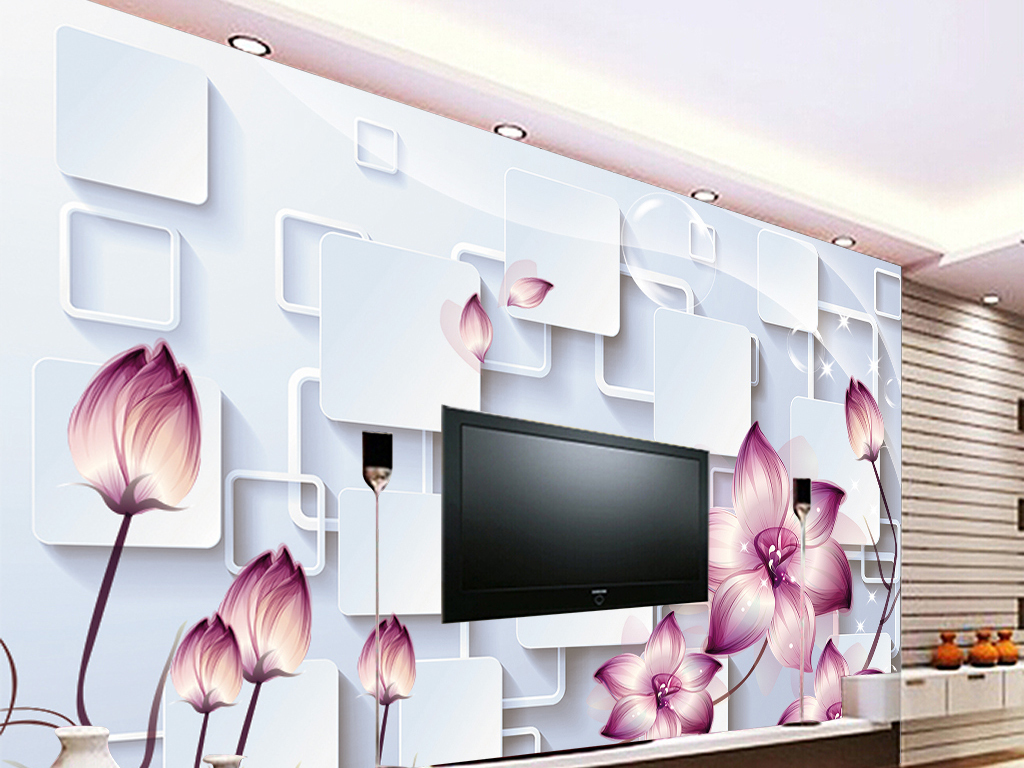 梦幻花朵3d立体正方形百合装饰背景墙