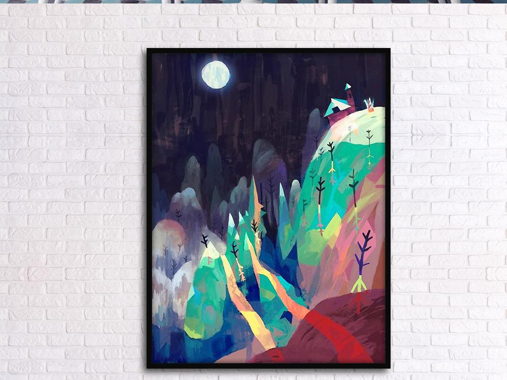 明亮月亮山谷北欧小清新手绘现代家居装饰画