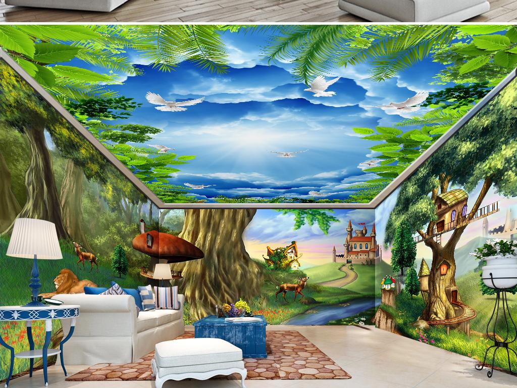 极致梦幻童话森林动物城堡全屋背景墙壁画