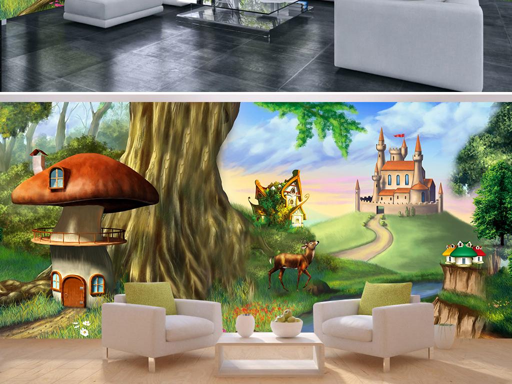极致梦幻童话森林动物城堡全屋背景墙壁画素材下载
