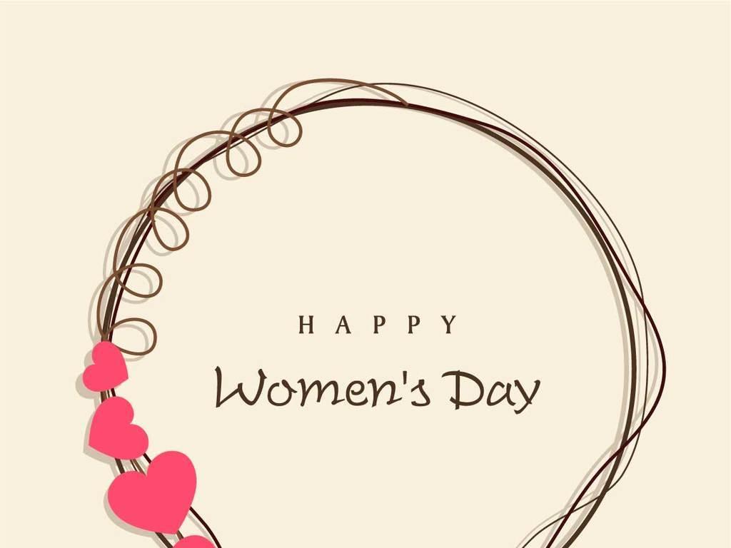 妇女节母亲节创意素材花环艺术字体卡通妇女图片